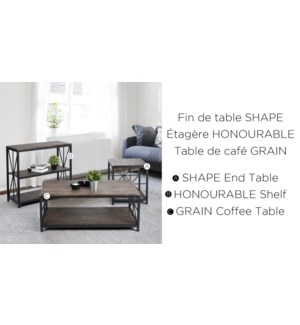 GRAIN GLASS TOP COFFEE TABLE WITH METAL FRAME  110X60X43CM