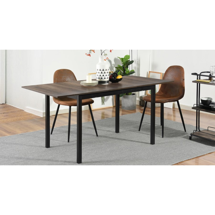 BARI BLACK EXTENTABLE DINING TABLE WITH SQUARE METAL LEG
