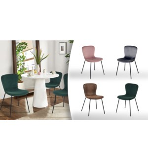 KOZIELLO GREEN  DINING CHAIRS - PU SEAT AND STEEL FRAME