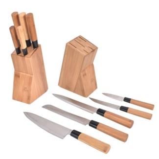 5pcs Bamboo knife set with block 6/b