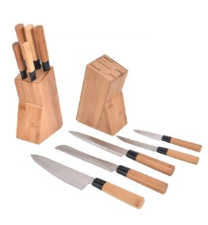 5pcs Bamboo knife set with block 6/b