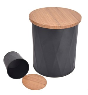Canister Black Stainless Steel and Bamboo 12/b
