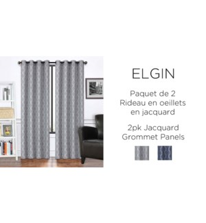 "ELGIN 2PK  jacquard Grommet PANEL  38X84"" NAVY 12/b"