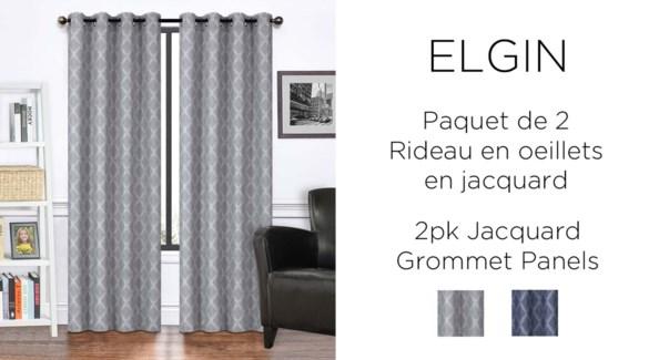 "ELGIN  2PK  jacquard Grommet PANEL  38X84"" GREY 12/b"