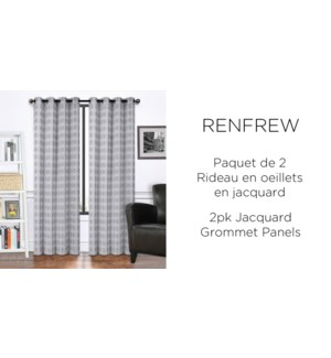 "RENFREW 2PK  jacquard Grommet PANEL  38X84"" GREY 12/b"
