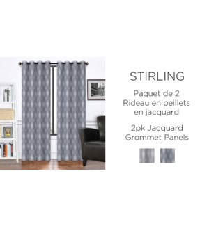 "STIRLING 2PK  jacquard Grommet PANEL  38X84"" CHARCOAL 12/b"