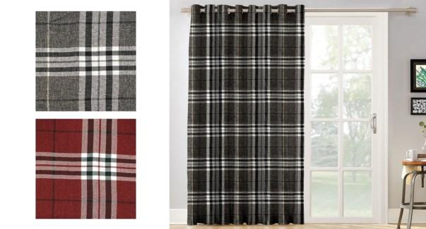 plaid faux linen grommet top panel 52X84 RED 22/B
