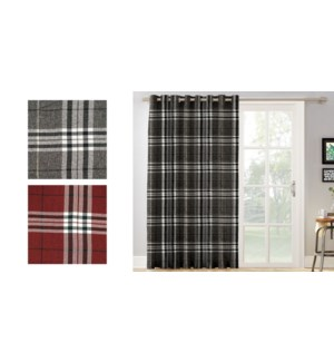 plaid faux linen grommet top panel 52X84 RED 22/B