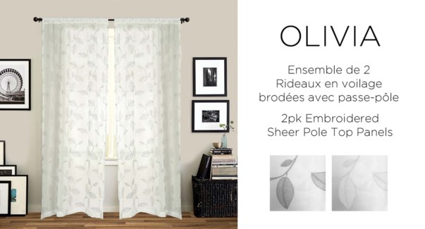2PK Olivia embroidered shr pole top panels 42X84 WHITE 6/B