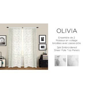 2PK Olivia embroidered shr pole top panels 42X84 WHITE 6/B