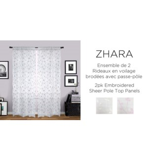 2 PK Zhara embroidered shr pole top panels 42X84 WHI/PINK 6B