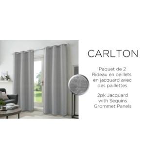 2PK Carltonjacq w/sequins grommet panel  38x84 silver 6/b