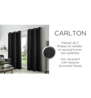 2PK Carltonjacq w/sequins grommet panel  38x84 black 6/b