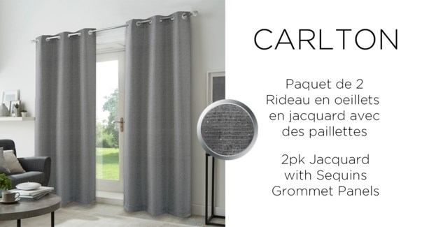 2PK Carltonjacq w/sequins grommet panel  38x84 grey 6/b