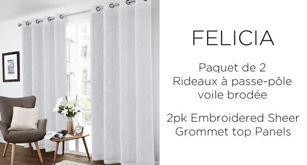 2PK Felicia floral embrd sheer grommet top panels 52x84 6/b