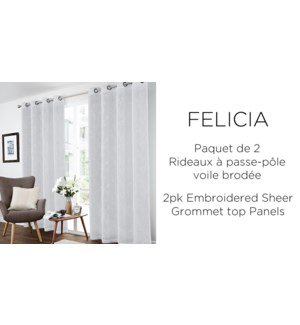 2PK Felicia floral embrd sheer grommet top panels 52x84 6/b