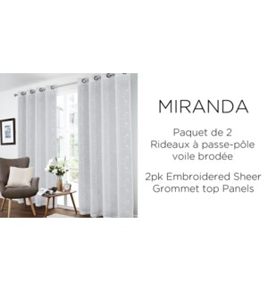 2PK Miranda floral embrd sheer grommet top panels 52x84 6/B