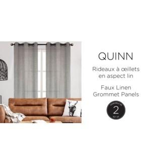 QUINN 2 pk faux linen-argent-37x63-GROMMET PANEL