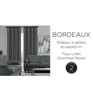 BORDEAUX  2 PK faux linen- pewter -52x96-GROMMET PANEL 12B