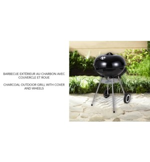 CHARCOAL OUTDOOR GRILL WITH COVER AND WHEELS