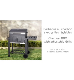 61CM CHARCOAL BBQ WITH ADJUSTABLE GRILL charcoal