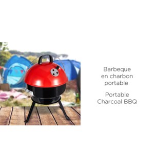 PORTABLE CHARCOAL BBQ RED AND BLACK  36x36x53cm
