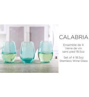 Calabria Aqua Verre vin sans pied St/4 18OZ 6/B