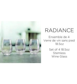Radiance White Pearl ST/4 Stemless glass 18.5oz