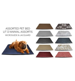 GT MicSuede Jacquard Dog Bed  27x36 assorted 12/b