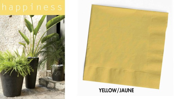 CP HAPPINESS NAPKINS 13X13 SOLID YELLOW