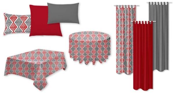 Diamond Printed Panel red/grey 52x90 12/b