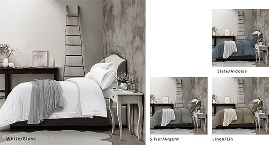 Hotel Ens Housse de Couette avec Replis/Tencel T320 Ardoise