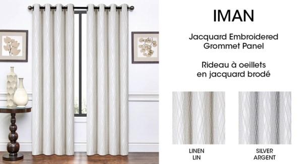 IMAN jacq embroidered grom top panel Linen 54*96 6/b