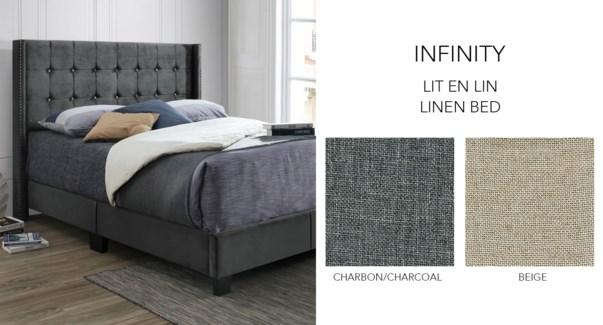 INFI 2868 Luxury Lit de lin Beige #01F11-1 153x204x130 cm