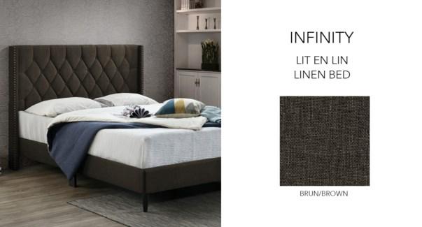INFI 2868 Luxury Lit de lin Brun #TN008 153x204x130 cm