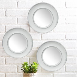 ENSEMBLE DE 3PC DE MIROIRS DECORATIFS BLANC 8B