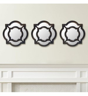 ENSEMBLE DE 3PC DE MIROIRS DECORATIFS BRONZE 8B