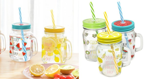 MASON JAR AVEC PAILLE DESSINS DE FRUITS ASSORTIS