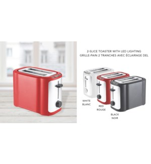 2 SLICE RED TOASTER WITH LED LIGHTING 8/B
