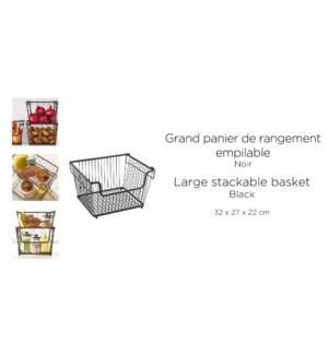 PANIER DE RANGEMENT EMPILABLE VINTAGE GRAND 32X27X22CM