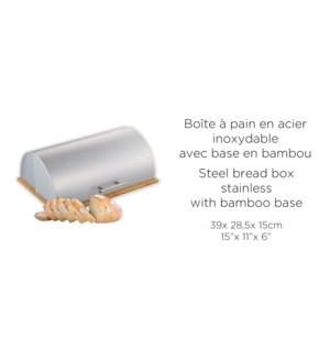 BOITE A PAIN INOX BASE BAMBOU 39X28.5X15CM