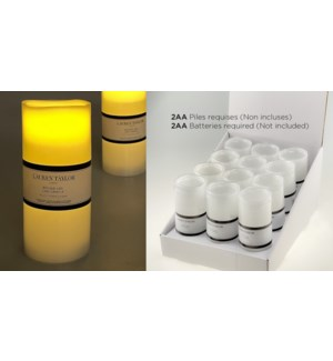 Bougie LED blanche avec minuterie (4H / 8H) 7,5x17,5 - 24B