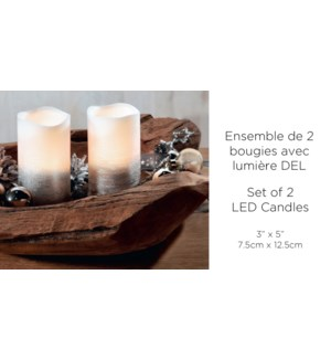 Bougie LED Set de 2 - Argent & Blanc - 7.5x12.5CM W / Timer