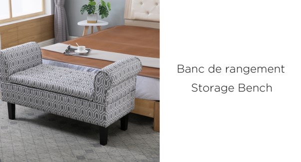 Chaise Lounge My-5052 grey/white avec rangement