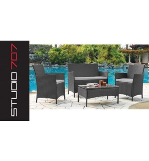 4 Pcs Lounge Set Red 1b