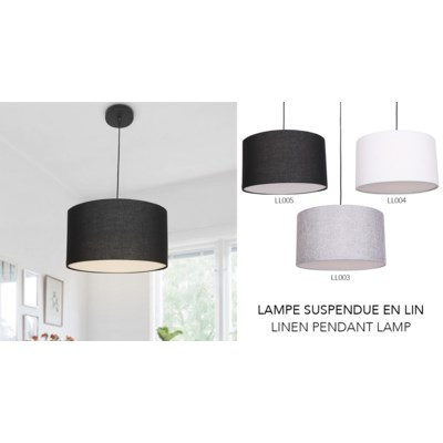 Black Linen Ceiling Lamp 23x40 - 1B