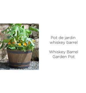 Whiskey barrel garden pot 44x44x30 brown 6/CTN