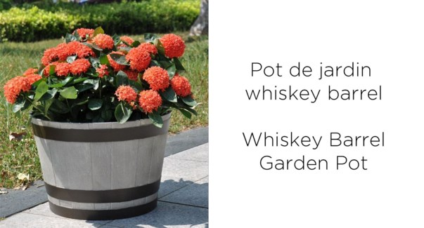 Whiskey barrel garden pot 44x44x30 grey 6/CTN