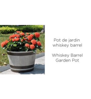 Whiskey barrel garden pot 44x44x30 grey 6/CTN