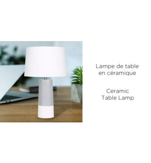Lampe de table en c'ramique gris / blanc 36x36x54-2B